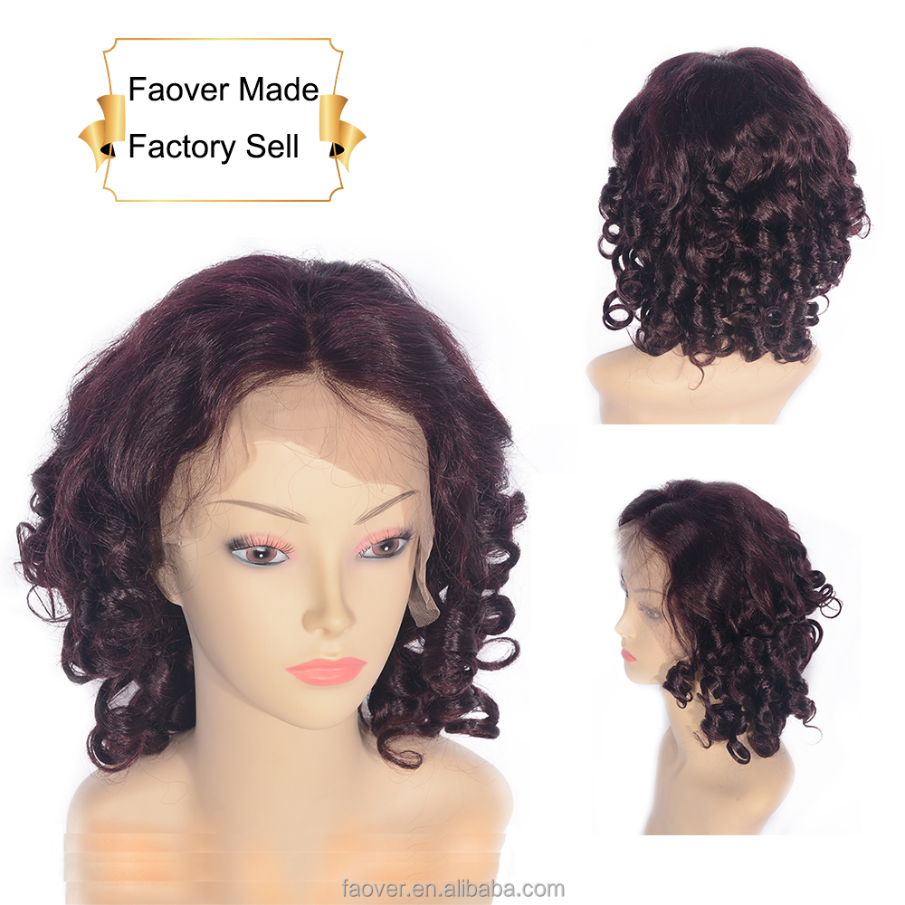 "Hot Sale Quick Delivery 14"" Deep Wave Curly Front Lace Wig With 100% Brazilian Hair"