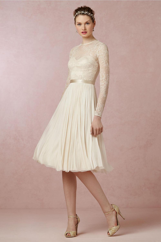 new designer 2016 vintage full sleeve sleeve simple lace knee length wedding dresses bridal gown. Black Bedroom Furniture Sets. Home Design Ideas