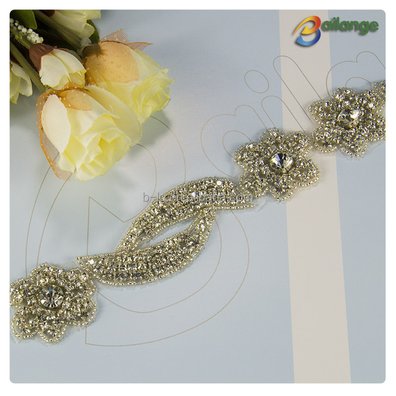 Wholesale crystral tims , rhinestone trim for wedding dress , wedding belts
