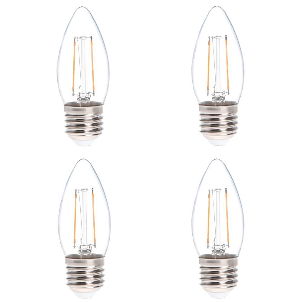 HERO-LED B11-DS-2W-WW27 LED Filament Chandelier Candle Light Bulb, 25W Equivalent, LED Torpedo, Warm White 2700K, 4-Pack(Not Dimmable)