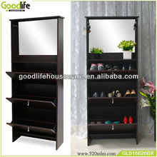 Nursing home furniture wooden mirror shoe display cabinet with dressing mirror
