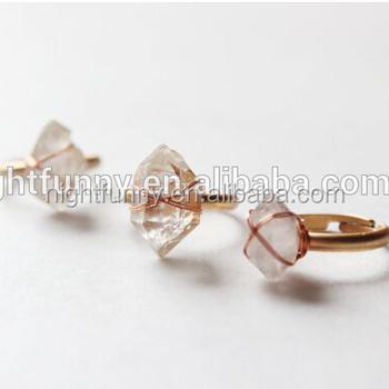 Herkimer Diamond Wire Wrapped Raw Quartz Crystal Adjustable