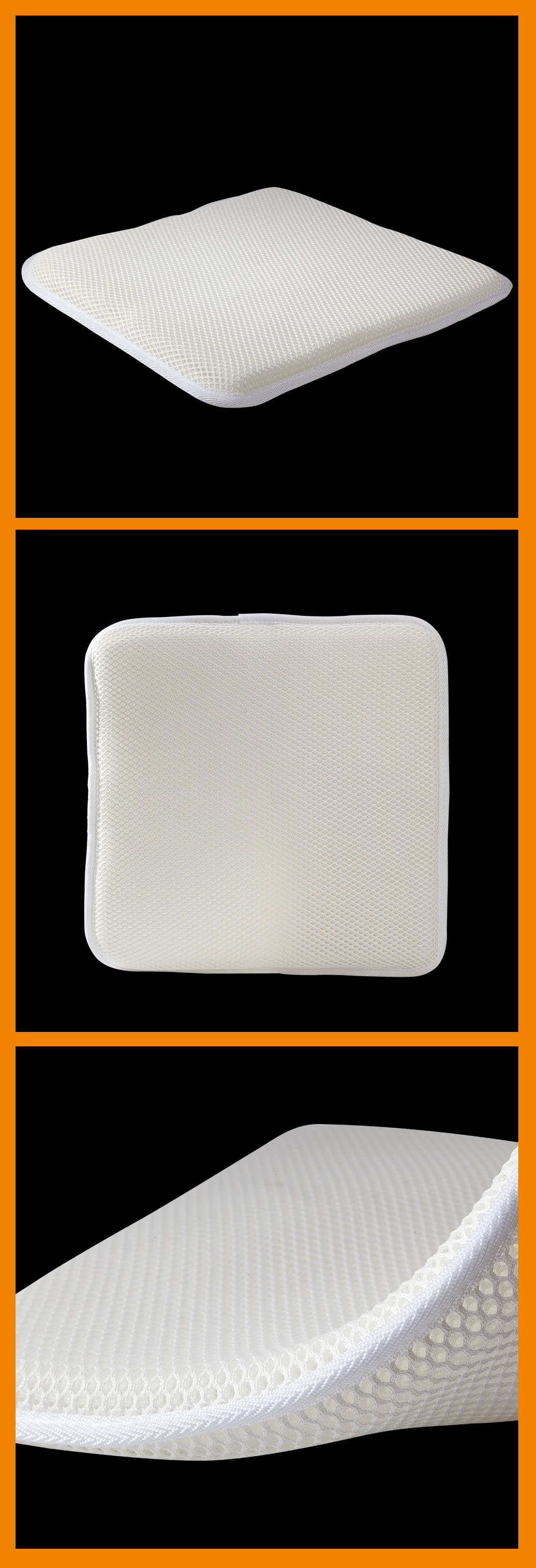 Office square breathable cooling polyester air mesh 3D spacer fabric cushion