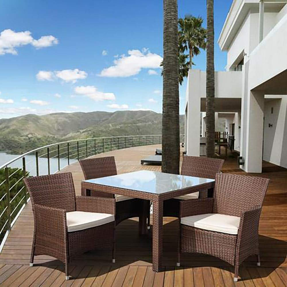 Stylizio Deluxe All-Weather Wicker 5-Piece Patio Dining Set with Armchairs, Brown Patio Outdoor Backyard Garden