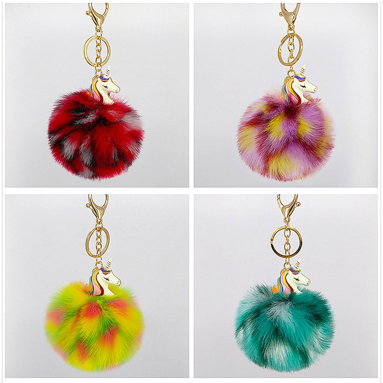 2018 fluffy fur ball pom pom metal horse keyring, bags charms cheap item fuzzy plush unicorn keychain