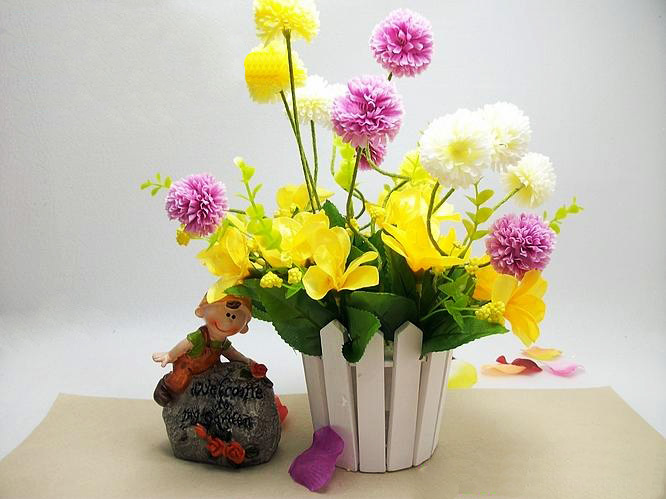 Artificial ball flowers  Spring artificial flowers home decoration plastic and silk flowers flowers mix color 10pcs/lot