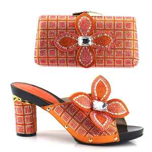 AB7670#1 2018 High quality Multi color high heel with stones shoes and bag set for ladies