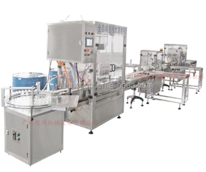 Washing filling and capping machine applied to various material flat round bottles
