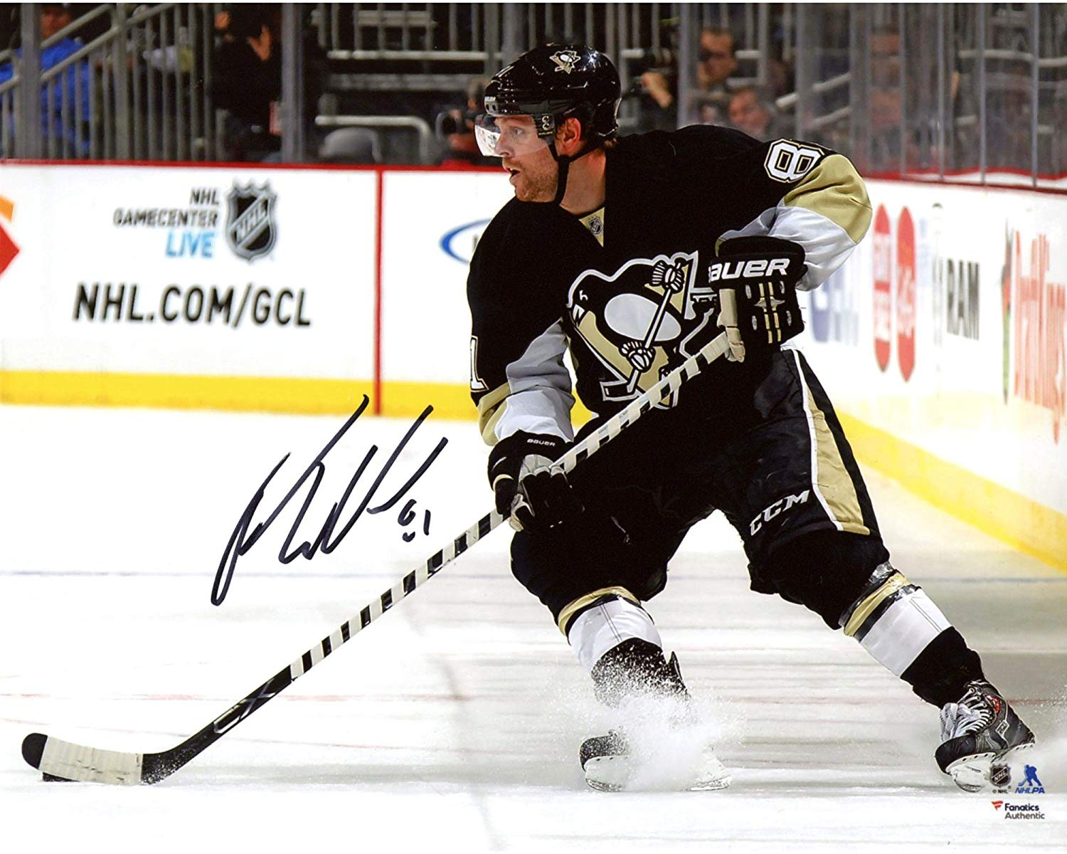 "Phil Kessel Pittsburgh Penguins Autographed 8"" x 10"" Black Jersey Stopping Photograph - Fanatics Authentic Certified"