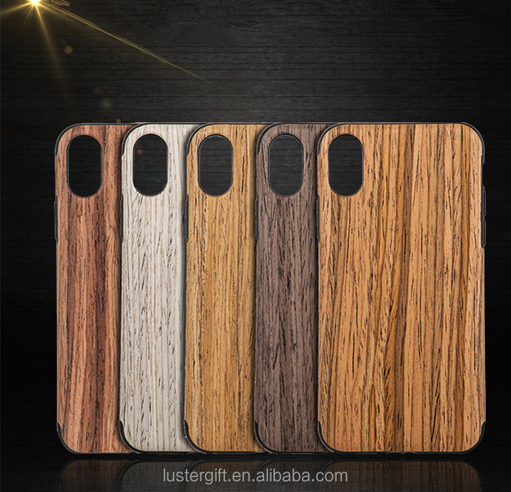 New Design Real Wood Shockproof Soft TPU Silicone Flexible Cell Phone Back Case Mobile Phone Cover for iPhone X
