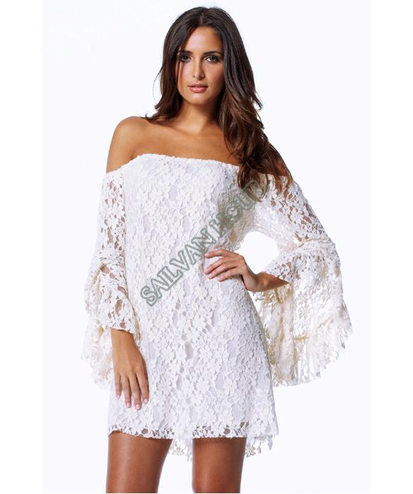 Fashion Cream Lace Off The Shoulder Mini Dress White ...