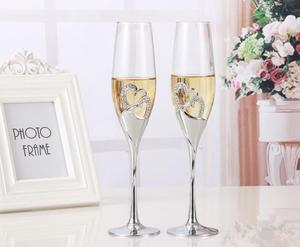 NEW 200-300ML Long Wedding Champagne Wine Glasses Crystal Silver Plated Toasting Flutes Cup for Party Decoration Gifts