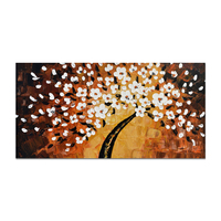 Modern 3D Knife Golden Tree Canvas Abstract Colour Wall Decor Flower Oil Painting