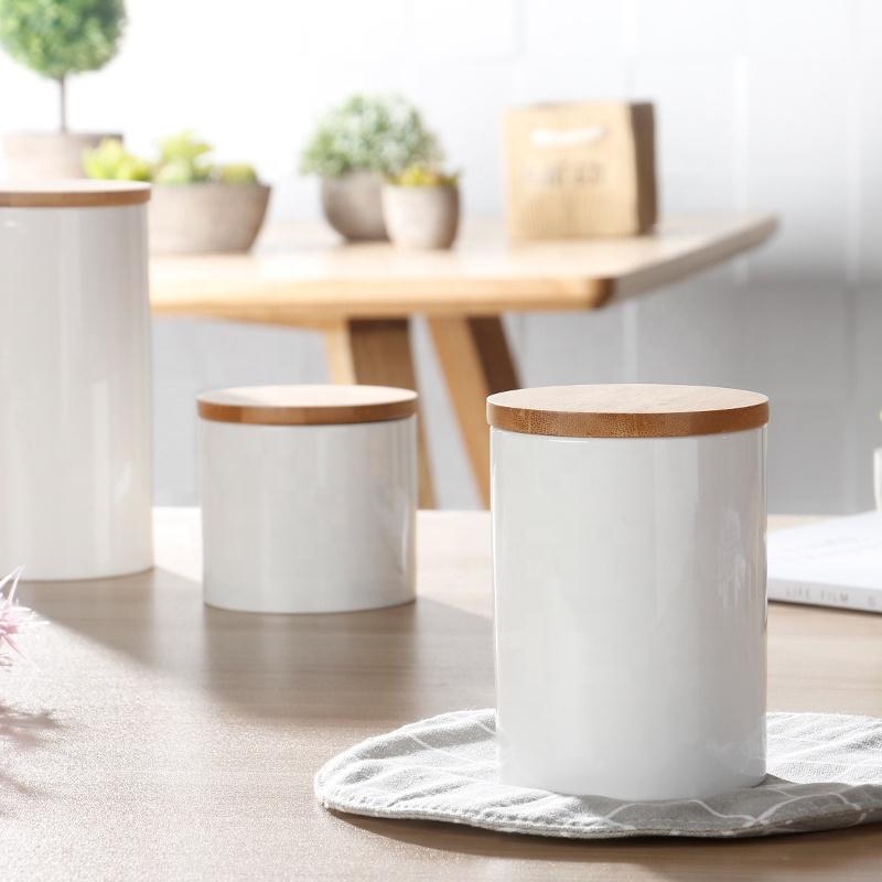Hot selling cheap storage jar white plain ceramic coffee bean tea canister