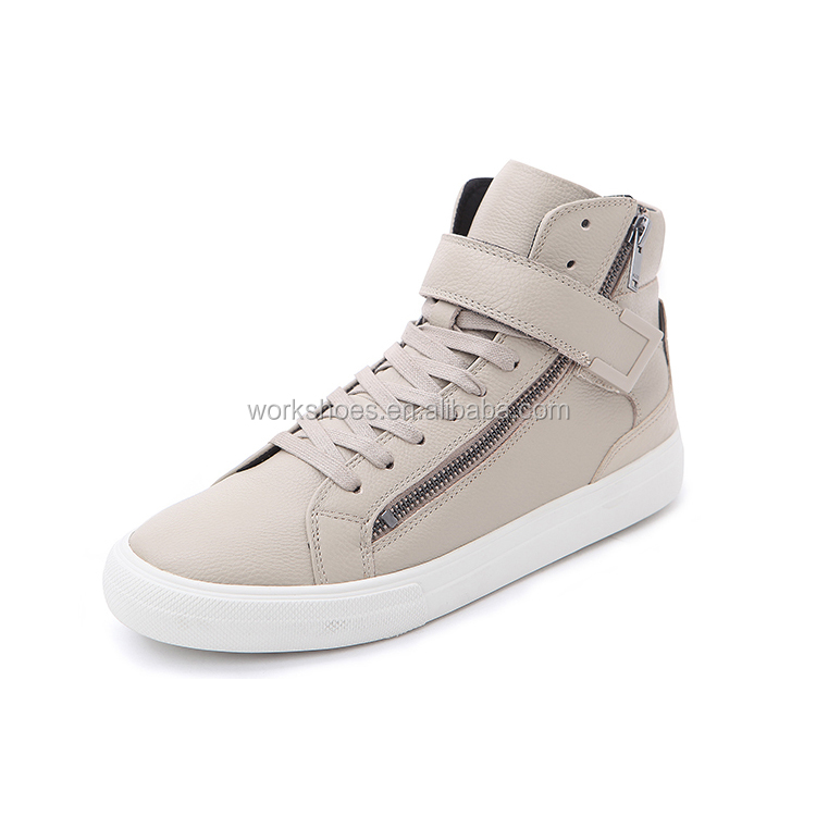 Comfortable Flat zipper side Mid-top leather shoes the men