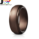 Silicone Wedding Ring for Men sports Rubber Engagement finger Bands Skin Safe, Soft, Step Edge Design metalic color