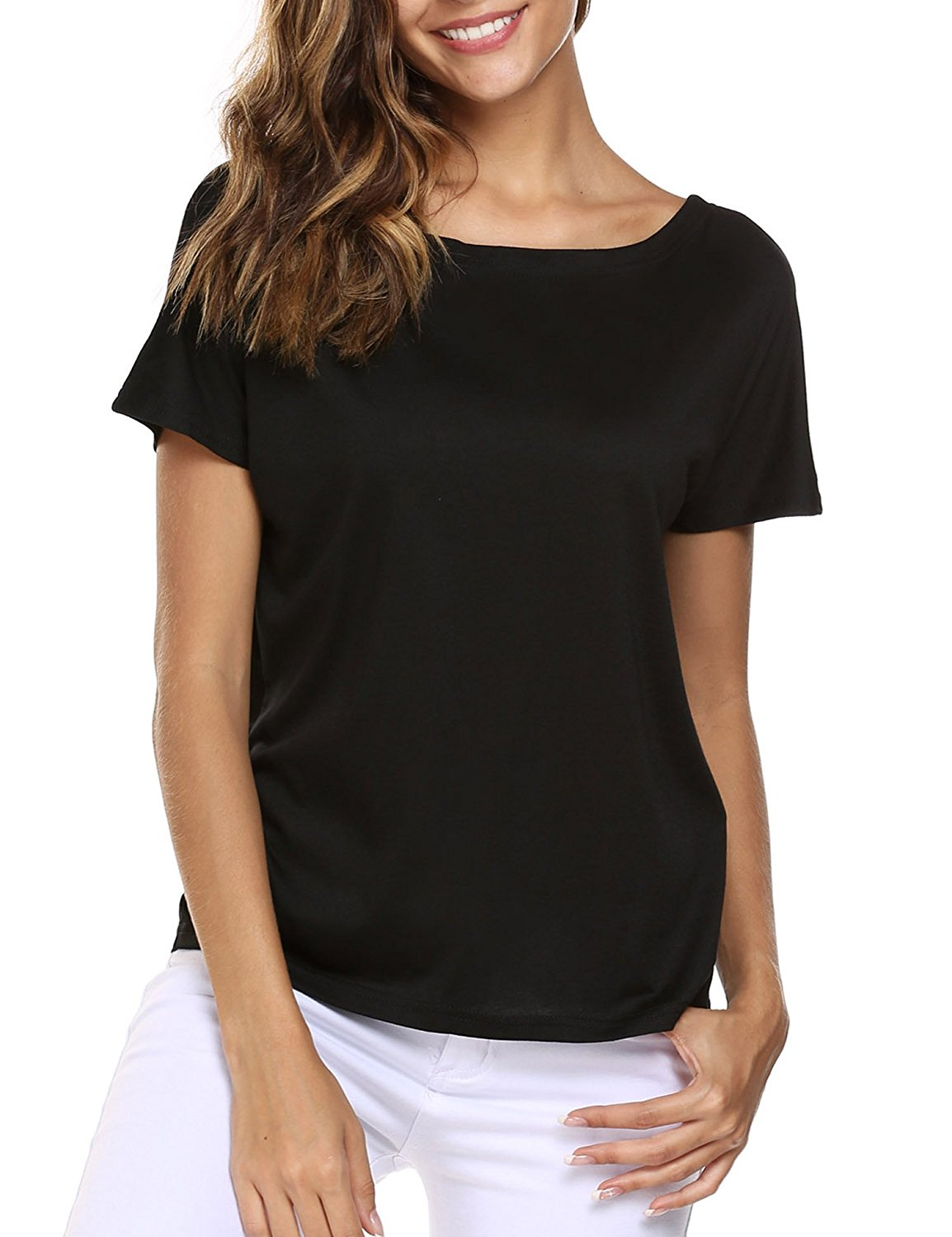 3f9626d742e Get Quotations · Easther Women Cut Out Loose Pullover Criss Cross Top Tee  Blouse