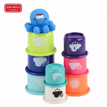 Cartoon vinyl set octopus squirt stack up cups baby bath toys sets for kids