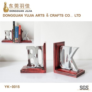 Antiquated Wooden Resin Bookend Set Of Alphabet Of 'Book'