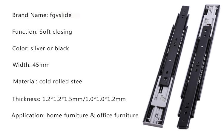 45mm width drawer slider guide