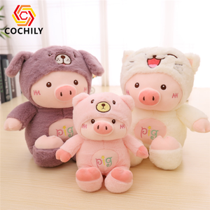 New Arrival Custom Baby Plush Soft Toy Pink Pig Clothing