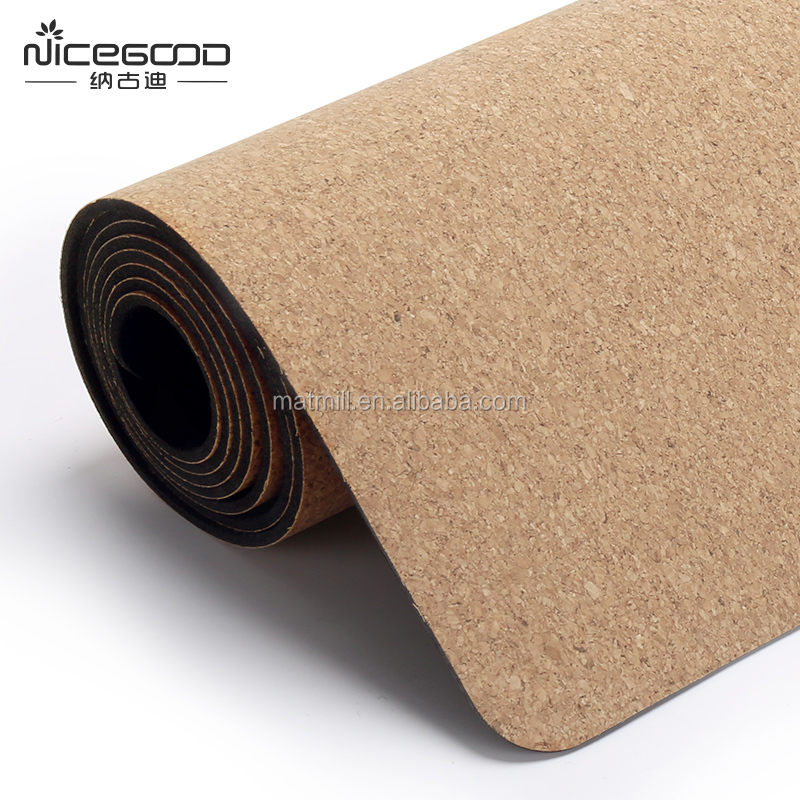 Yoga Accessories Printed Natural Rubber Eco Friendly Cork Yoga Mat