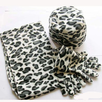 wholesale customized warmer soft polar fleece leopard hat and scarf glove sets