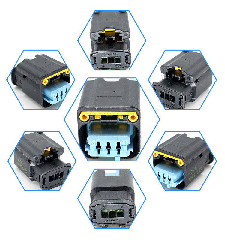 1801179 3 pin HP/HPSL electrical pbt gf15 amp te connectivity series connector