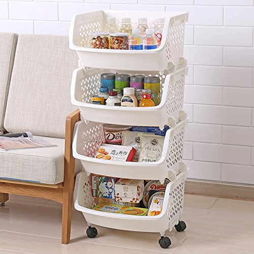 Get Quotations · AJ Storage Stacking Bins, Household Kitchen Plastic  Stackable Vertical Storage Organizational Bins Vegetable Fruit Food