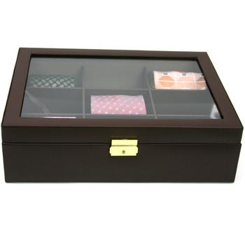 Custom Cardboard Bow Tie Storage Box Pu Leather Tie Package Case For Man