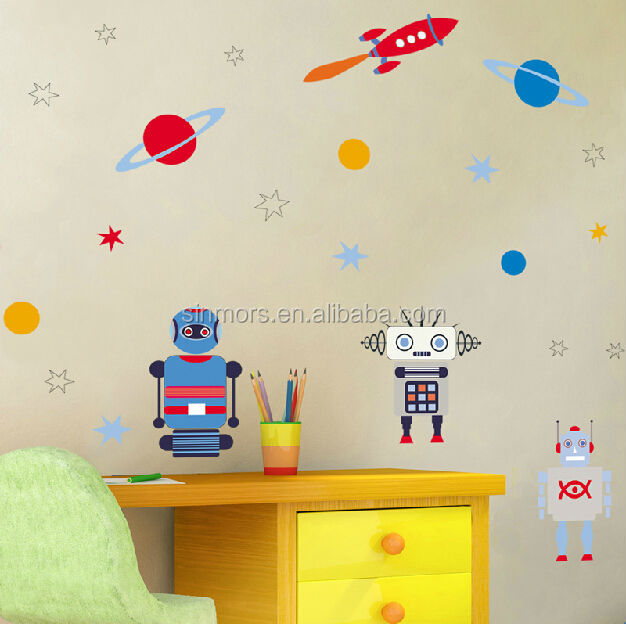 Sinmors Outer Space Wall Decor Stickers,adhesive Kids Wall Decals,robots  Cartoon Kids Stickers Part 64