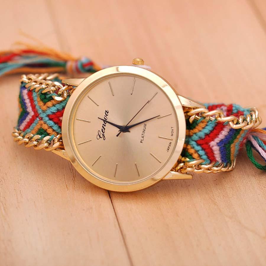 10 цвета нового бренда ручной плетеный дружба браслет часов женева ручной часы дамы Quarzt часы reloj