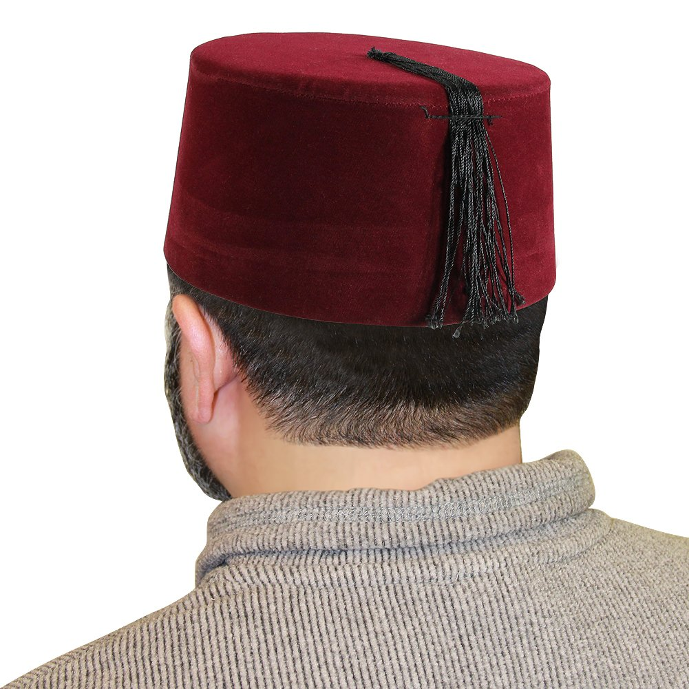 33c23c49603 Get Quotations · Turkish Fez Red Cap with Black Tassels Tarboosh 20 inch Hat