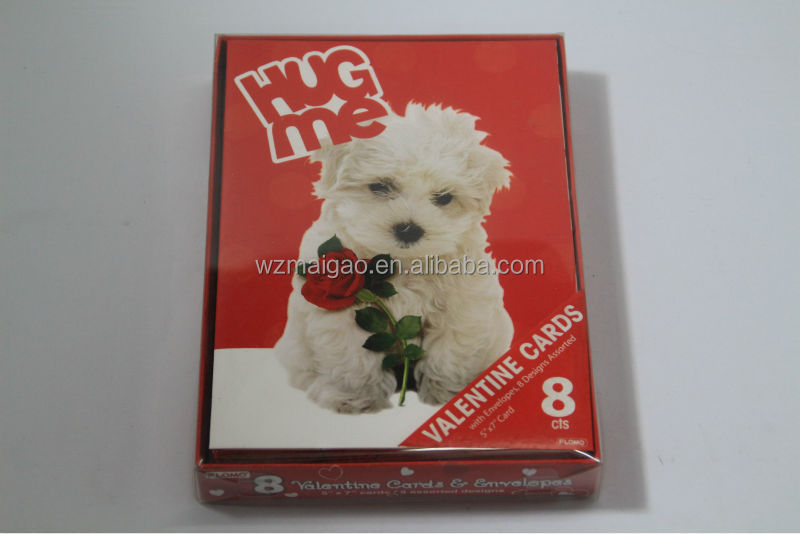 'Hug me' valentine greeting card,8 cts,wholesale greeting card