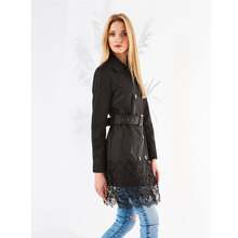 Femmes 2020 automne nouveau style personnalisé <span class=keywords><strong>trench</strong></span> <span class=keywords><strong>noir</strong></span> avec dentelle