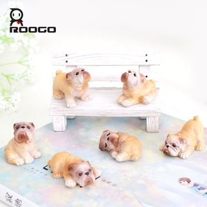 ROOGO Resin Puppy Miniature Dog Figurine Mini Garden Decor Desk Decor Gift Craft
