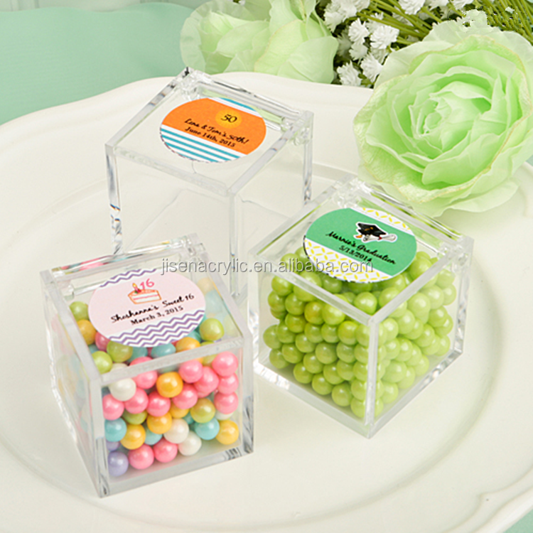 Wholesale handmade clear small acrylic box mini candy box ,wedding party gift box with lid