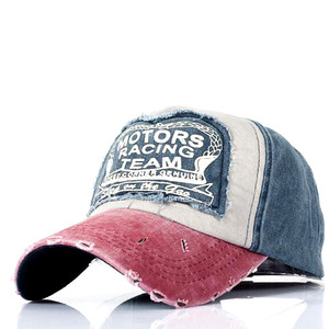 b265a5201 Washed Distressed Cotton Baseball Caps Dad Casquette Women Snapback Caps  Bone Hats For Men Fashion Vintage Motor Racing Team Log