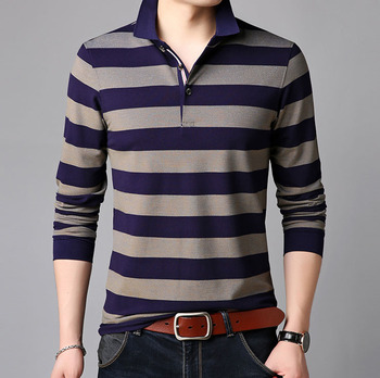 0986ba146 OEM service wholesale long sleeve mens polo collar striped polo t shirt  with color combination,