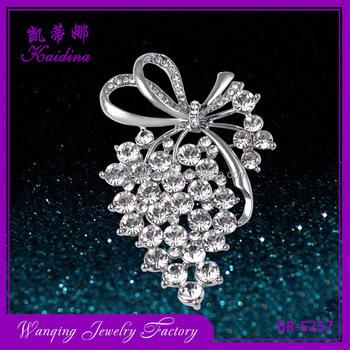 eb7540d74 Crystal Flower Rhinestone Brooch Fashion Grapes Shape Silver Plated Brooch  Pins decorative flowers for dress