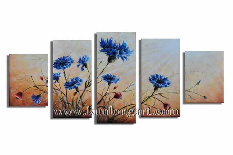Free Shipping Framed 100% Handmade Flower Modern Art Canvas Oil Painting 5 panels/set Wall Decor Home Decoration (KLFL5-0008)