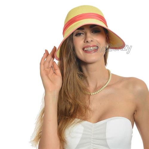 f5fae7142c408 Get Quotations · Wide Brim Floppy Sun Hats for Summer Cool Straw Hats  Stylish Ladies Beach Wide Brimmed Hats