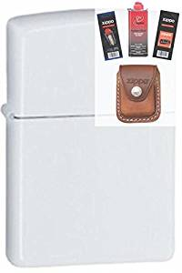 Zippo 214 White Matte Finish Lighter + Fuel Flint Wick Pouch Gift Set