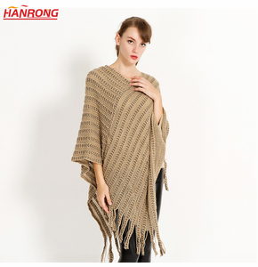 New Winter Fashion Pure Color Warp Knitting Fringe Lady Beige Red Acrylic Scarf Cape