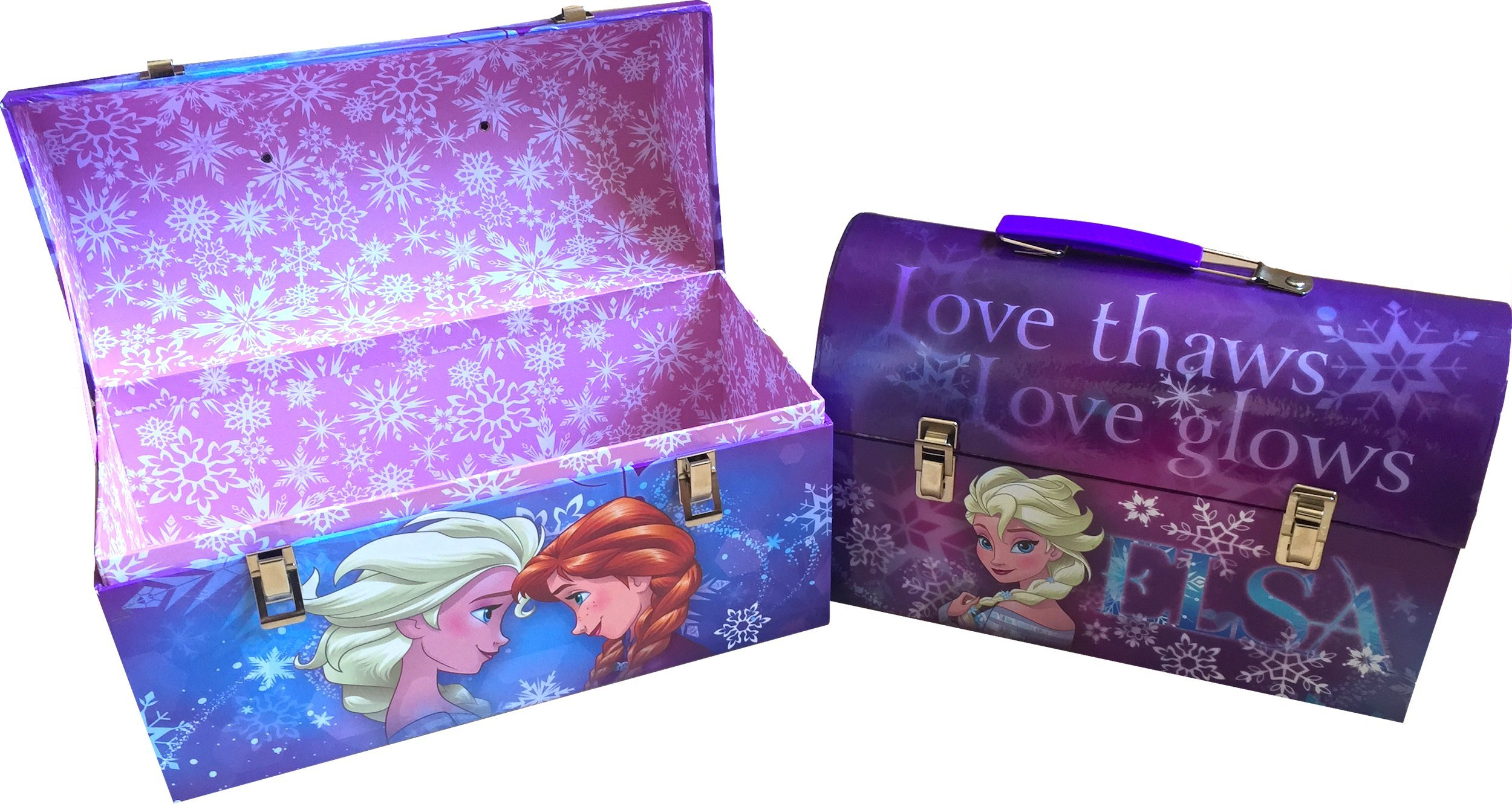Disney Frozen Anna and Elsa Love Sisters Forever Children's Paperboard Treasure Chests , Small One Fits Inside Larger One Perfect Disney Frozen Gift Set Perfect Storing Your Magical Toys