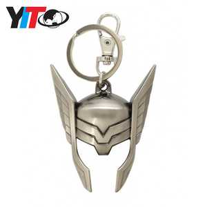 Hot sale thor helmet pewter metal keychain marvel key ring