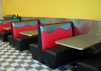 Fast Food Restaurant Furniture Double Sides Leather Booth Sofa Seating