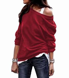 2018 Autumn Winter New Fashion Ladies Round Neck Long Sleeves Casual Loose off Shoulder Women Blouse Tunic Tops