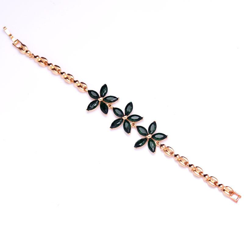 Бесплатная доставка новый женский / дамская мода 18 К желтый позолоченный цветок CZ 3 цветов бриллиантовые браслеты и браслеты украшения оптовая продажа