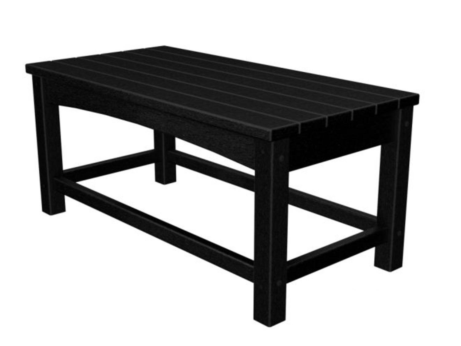 """35.5"""" Recycled Earth-Friendly Outdoor Patio Club Coffee Table - Black"""